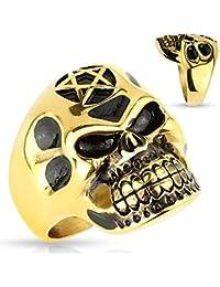 Hombre Cool Body Art dedos Ring Ring sigel Anillo con calavera Calavera con pentagrama de acero inoxidable en negro de oro en diferentes tamaños