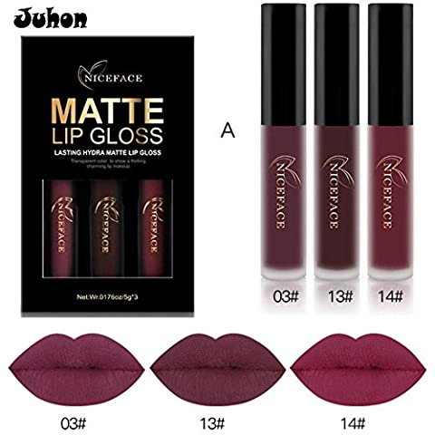 JUHON 2017 Nouveau 3 couleurs / Set Lipsticks liquides Make Up Pigments Sexy Rouge Violet Velvet Mat Maillot de maquillage brillant A