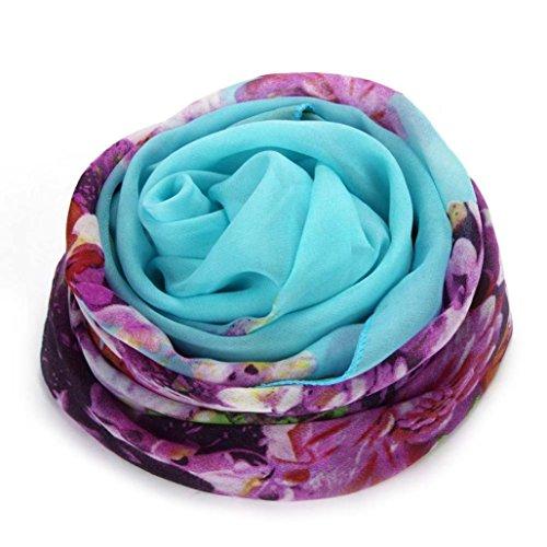 Transer ® Femelle Écharpes, Fashion Style décontracté en mousseline de soie chaude et douce Shawl Écharpes Wrap étole chaud Bleu