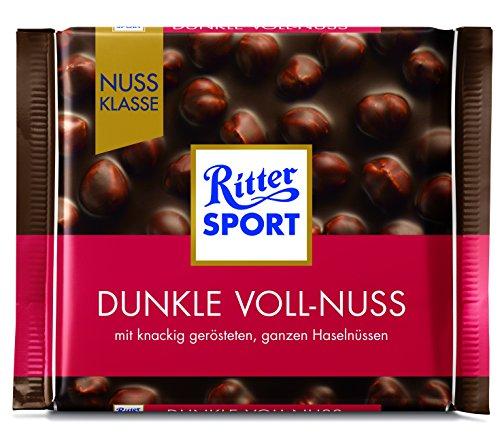 RITTER SPORT Dunkle Voll-Nuss (100 g), ganze Haselnüsse in einer dunklen Tafelschokolade,...