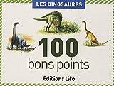 """Boite de 100 images """"Les dinosaures"""". Texte pédagogique imprimé au verso de l'image. Dimensions : 5,6 x 7,9 cm."""