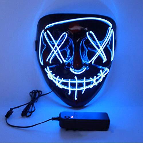 Charlemain LED Maske mit 3 Blitzmodi, Halloween Maske, harmlos, blinkende Maske für Halloween, Karneval, Party, Kostüm Cosplay, Dekoration (Lustige Hockey Kostüm)