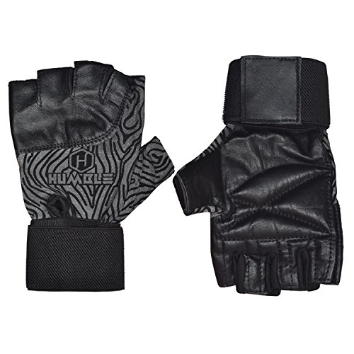 HUMBLE Leather Gym Gloves With Wrist Wrap (Medium)