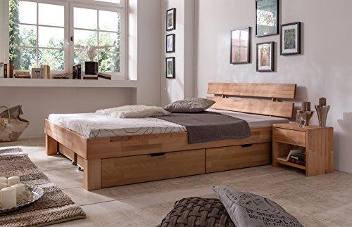 moebelstore24 Futonbett Bett Judith Kernbuche-Massiv Natur geölt, 140 x 200 cm