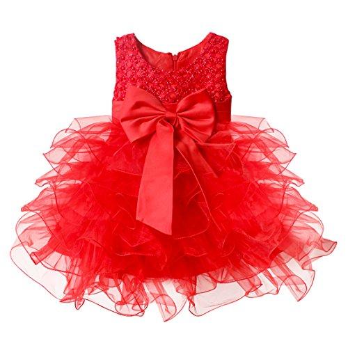 hleife Bowknot Blumenmädchenkleid Gr. 68-92 Hochzeit Kleinkind Verkleidung (68 (Herstellergröße:60), Rot) ()