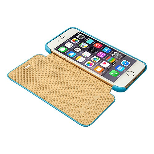 Coque iPhone 6S, Jisoncase Etui avec Rabat Housse de Protection En Cuir PU Ultra Slim Pour Apple iPhone 6 6S 4,7 pouces Folio Case Cover Fermeture Magnétique JS-IP6-32H80-FR Jaune iPhone 6/6s 4.7'' Bleu