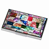 Mother of Pearl MOP Patchwork Design Business Credit Name Id Card Holder Case Metal Stainless Steel Engraved Slim Purse Pocket Cash Money Wallet with Patchwork Design