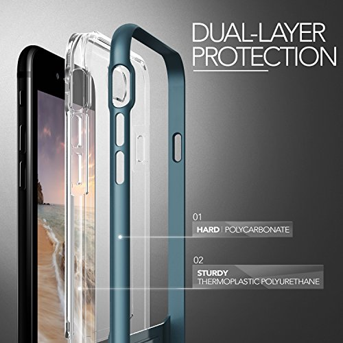 Housse de iPhone 7 VRS Design® Coque de protection en silicone [] or rose transparent frappe festen pare-chocs Transparent Case TPU Housse Etui CLEAR Cover [Crystal Bumper] pour Apple iPhone 7 2016 Steel Bleu