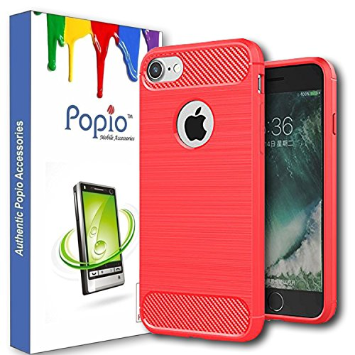 "POPIOâ""¢ iPhone 7 Back Cover Case Slim Rugged Shock Proof Bumper Armor Back Cover Case (Metallic Red)"