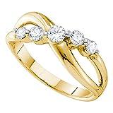 14kt oro amarillo para mujer redondo diamante 5-Stone anillo cruzado, infinito banda 1/2quilates = 0,5quilates (I1-I2claridad, H-I Color)