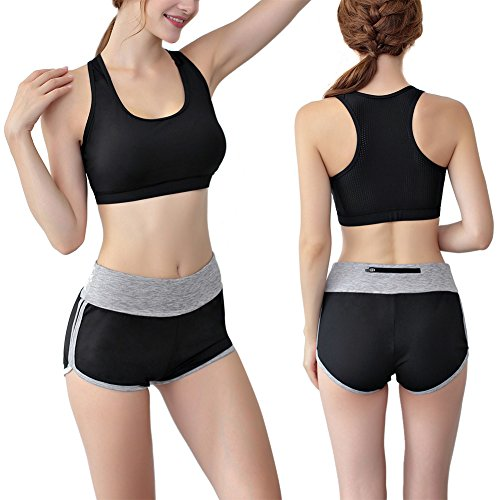 Soutien-Gorge de Sport Féminin Rembourré Push Up Yoga T-Shirt Sans Manches Running Jogging Fitness Exercise Racer Dance Tank Véritable Sangle Top Vest M / L / XL Type 2 noir