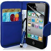 Supergets® Gravur Hülle für Apple iPhone 4s und 4 Buch-Stil Imitat Ledertasche in Blau Eingabestift, Displayschutzfolie, Reinigungstuch