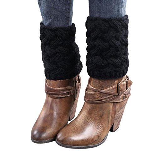 TWIFER Winter Frauen Kurze Stulpen Absatz grobe Nadel Beinwärmer Socken Boot Cover (Schwarz, 15 cm)