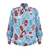 VEMOW 2018 Damen Hem Turn-Down Neck Weihnachten Weihnachtsmann Drucken Lässig Täglich Büro Freizeit Langarm T-Shirt Top Oberteile(Blau, EU-44/CN-XL)