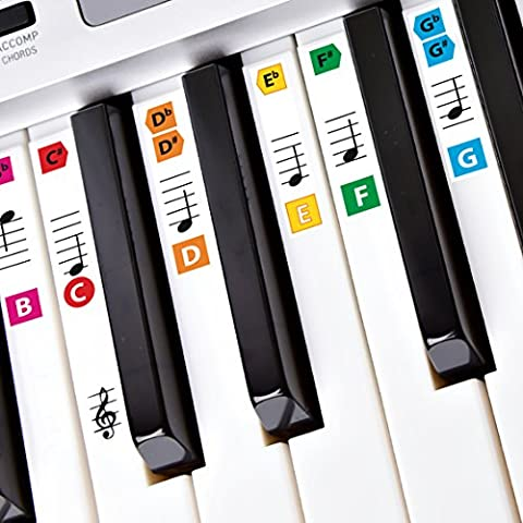 Best Adhesive Color Piano Key Note Keyboard Stickers for Adults & Children's Lessons, FREE E-BOOK, Great for Beginners Sheet Music Books, Recommended by Teachers to Learn to Play Keys & Notes Faster (Color