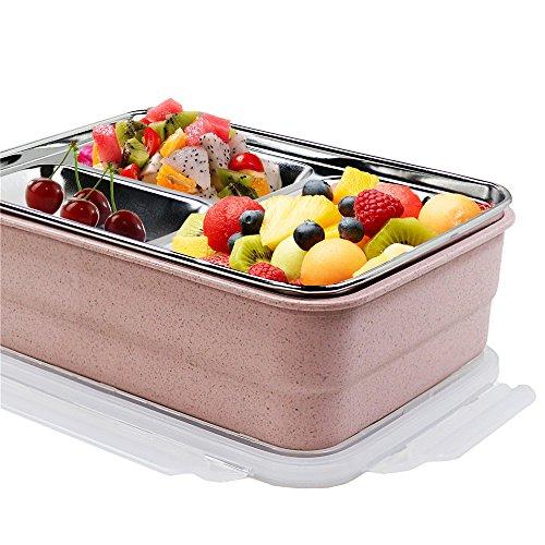 Monsiter Weizen Stroh Bento Boxen Microwaveable Lunch Container mit Geschirr für Erwachsene und Kinder - Rosa Erwachsenen-lunch-box