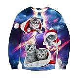 RAISEVERN Unisex Feo Fractura cósmico Gris del Gato de Navidad Impreso Informal de Manga Larga suéter suéter con Capucha Pequeño