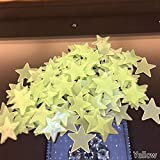 Meroy Liable 100 PCS/Set Colorful Luminous Home Glow in The Dark Stars Wall Stickers Decal for Kids Baby Rooms Fluorescente Sticker(None Yellow)