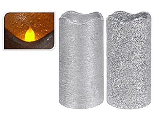 Vela Led Plata Glitter Mate 13cm 2 Surtido A Elegir 1