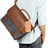 Lifewit 14-15.6 Inch Leather Satchel Messenger Laptop Shoulder Bag Canvas Briefcase (14 Grey)