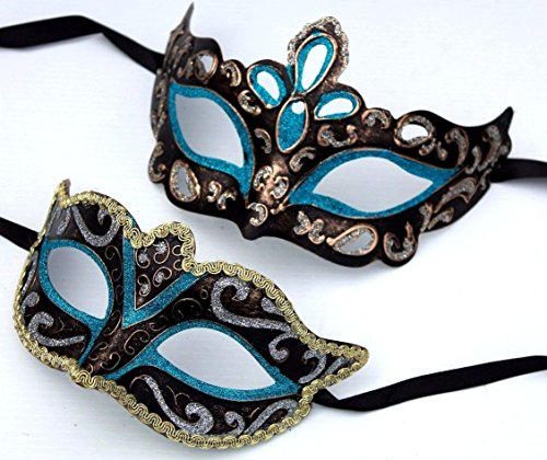Sein und ihrs Zwei Türkis Blau Schwarz Bronze Gold und Silber venezianische Maskerade Partei Karneval Masken (Schwarz Und Silber Maskerade Masken)