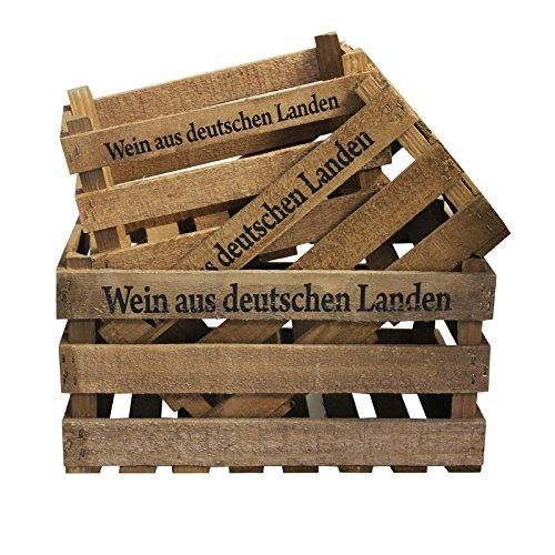 3er Set Deko Weinkiste mit Aufdruck Wein aus deutschen Landen 3x Holzkiste Obstkiste Wein Kiste Holz shabby vintage retro