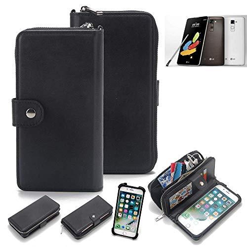 K-S-Trade 2in1 Handyhülle für LG Stylus 2 DAB+ Schutzhülle & Portemonnee Schutzhülle Tasche Handytasche Case Etui Geldbörse Wallet Bookstyle Hülle schwarz (1x)