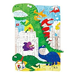 Robotime Dinosaur Wooden Puzzle 48 Pcs-Dinosaur Jigsaw Toys for 3 Year Old Boys and Girls-Top Birthday Or Christmas Gifts