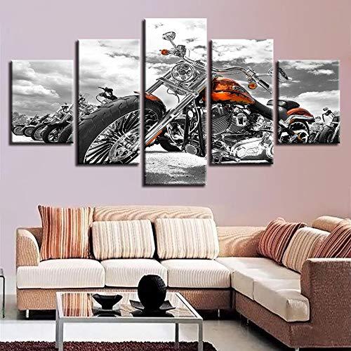mmwin Leinwandbilder Poster Modulare Drucke Wandkunst Gerahmte 5 Stücke Motorrad Schwarz Und Weiß Dekor Wohnzimmer Oder Schlafzimmer - Hello Kitty Kosmetik-set