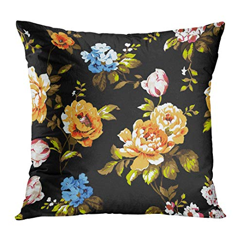 Throw Pillow Cover Blue Abstract Shabby Chic Vintage Roses Tulips and Forget Me Nots Classic Chintz Floral Raster Colorful Decorative Pillow Case Home Decor Square 18x18 Inches Pillowcase - Blue Chintz