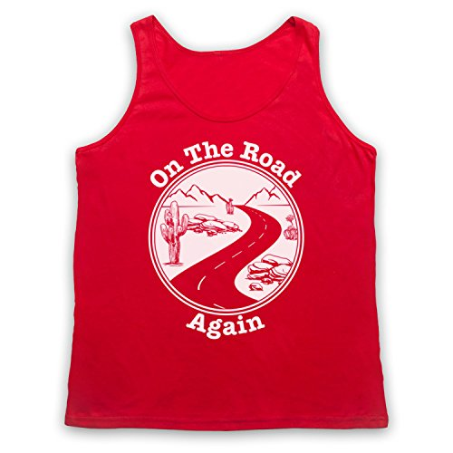On The Road Again Travelling Touring Slogan Tank-Top Weste Rot