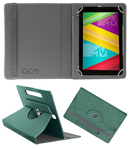 Acm Designer Rotating Leather Flip Case for Swipe Mtv Slash 4x Cover Stand Turquoise  available at amazon for Rs.169