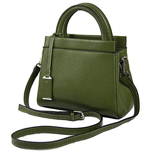 Mefly Donna borsette in cuoio e nuovi prodotti europei di colore solido Litchi Pelle spalla singolo croce obliqua Fashion verde green