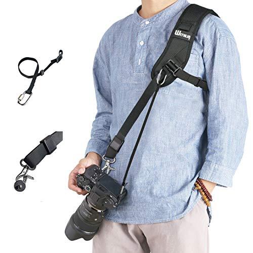 dslr tragegurt prowithlin WITHLIN Kamera Gurt - Verlängerter Schultergurt mit Sicherheits Tether für Kamera DSLR SLR (Canon Nikon Sony Olympus Pentax, etc.)