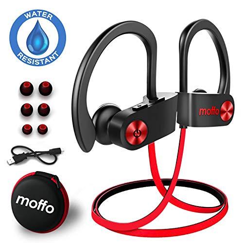 Bluetooth Ohrstöpsel Moffo Bluetooth Kopfhörer, 6-8 Stunden Spielzeit, Bluetooth 4.1, In Ear Kopfhörer mit Mikrofon für iPhone Android Samsung iPad Huawei HTC usw (Rot Schwarz)