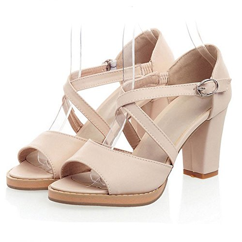COOLCEPT Femmes Mode Criss Cross Sandales Orteil ouvert Bloc Chaussures Abricot