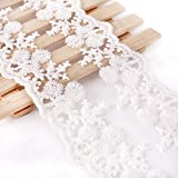 Anladia 5M*11CM Vintage Spitzenband Weiss Spitzenborte Nähen Kleidung Hochzeit Deko