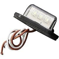 Luz de placa de matricula de coche - SODIAL(R)12/24V 3 LED Luz de etiquetade matricula de coche Lampara de paso interior del camion remolque RV barco