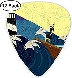 Médiators - Pack de 12, oeuvre abstraite grunge d'une femme mystérieuse dans un bateau Sea Storm, pour guitare acoustique électrique basse