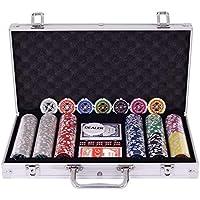 COSTWAY 300 Piezas Fichas de Póker Set de 7 Colores Laser-Chips con Caja de Aluminio con Forro Acolchado (Plata)