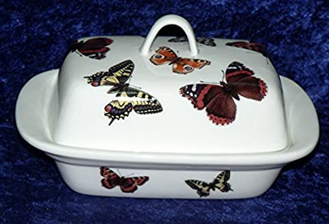 Butterfly butter dish -Brightly coloured English butterflies on porcelain butter