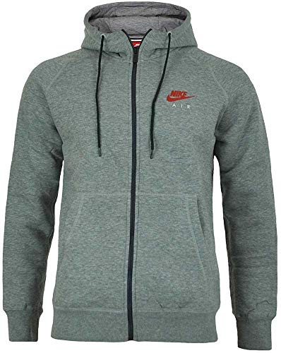 Nike Herren Air Heritage Fleece Full Zip Hoodie, grau (Carbon Heather / Bright Crimson),S Heritage Zip Hoodie