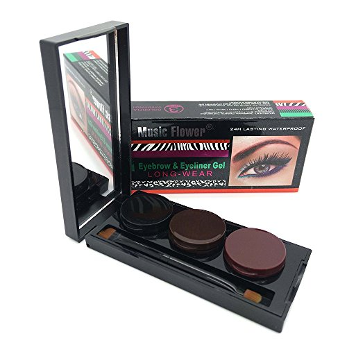 3 Color in 1 Brown + Black + Coffee Gel Eyeliner Make Up Water-proof and Smudge-proof Cosmetics Set Eye Liner Kit