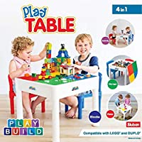PlayBuild Kids 4 in 1 Play & Build Table Set- Kids Table and Chairs Sets for Indoor Activity, Outdoor Water Play, Toy Storage & Building Block Fun Includes 2 Toddler Chairs, White