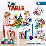 PlayBuild jugar y construer 4 in 1 niños Mesa y sillas para actividades en interiores, juegos al aire libre, almacenamiento de juguetes y bloques de construcción. Incluye 2 sillas para niños pequeños.