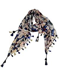 VERISMO SCARF Women's Polyester Floral Printed Stole (B-9156_Blue,Free Size)
