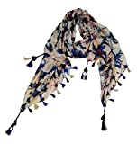 #8: VERISMO SCARF Women's Polyester Floral Printed Stole (B-9156_Blue,Free Size)