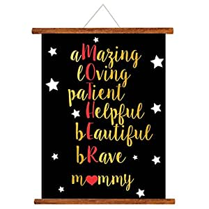 YaYa cafe Mothers Day Greeting Cards Starry Beautiful Mommy Mother Definition Scroll Card for Mom Wall Hanging Decor | Mom Birthday Gifts - 15x20 inches