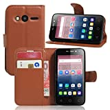 Tasche für Alcatel Pixi 4 (4.0 zoll) Hülle, Ycloud PU Ledertasche Flip Cover Wallet Case Handyhülle mit Stand Function Credit Card Slots Bookstyle Purse Design braun