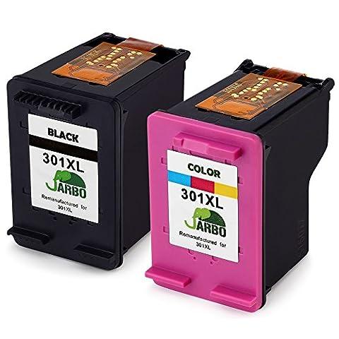 JARBO Remanufactured HP 301 XL Tintenpatronen (1 Schwarz,1 Farbig) Kompatibel zu HP Deskjet 1000 1010 1510 1512 2000 2050 2054a 2510 2514 2540 2542 3000 3050 3054a,HP Envy 4500 4502 4504 5539, HP Officejet 2620 2622 2624 4634 4636